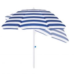 Plážový slunečník SPRINGOS BEACH 160 cm naklápěcí, bílo-modrý