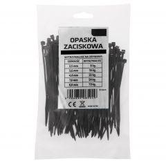 Plastové stahovací pásky 10cm, 100ks, černé SPRINGOS