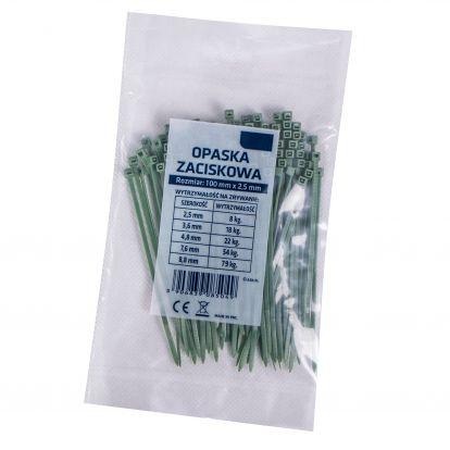Plastové stahovací pásky 10cm, 100ks, zelené SPRINGOS