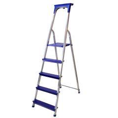 Hliníkové schůdky 5 stupňů DRABEST DI SOLEI 5 modré