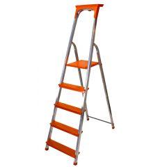 Hliníkové schůdky 5 stupňů DRABEST DI SOLEI 5 oranžové