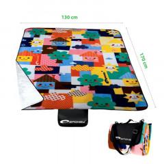 Spokey PICNIC TODDLER Pikniková deka s popruhem, orig. vzor 130 x 170 cm