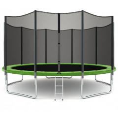 Trampolína SEDCO 456 cm s ochrannou sítí + žebřík zelená