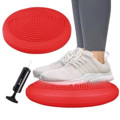 Balanční a masážní podložka + pumpička SPRINGOS PROMEDIC červená