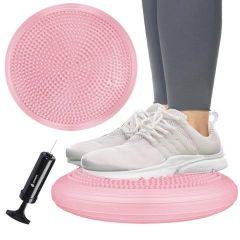 Balanční a masážní podložka + pumpička SPRINGOS PROMEDIC růžová