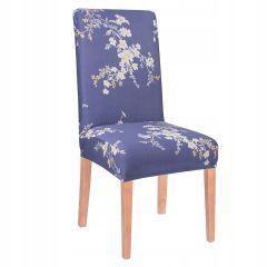 Potah na židli elastický SPANDEX modrý s květy