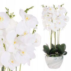 Umělá Orchidej s květy 75 cm bílá, 40 květů
