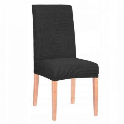 Potah na židli elastický SPANDEX PREMIUM černá kostka