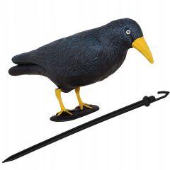 Plašič ptáků a holubů Havran sedící 39x19x11 cm se žlutým zobákem