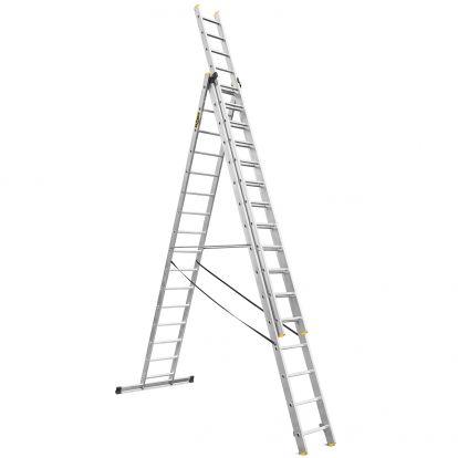 Hliníkový žebřík 3x16 příček třídílný DRABEST DW3-16 PRO