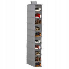 Závěsný organizér 10 polic, 15x30x120 cm, šedý SPRINGOS