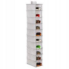 Závěsný organizér 10 polic, 15x30x120 cm, šedo-bílý vzor SPRINGOS