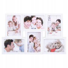 Fotorámeček na 6 fotek, 44x28 cm, bílý SPRINGOS PANORAMA