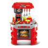 Dětská kuchyňka G21 v červené barvě potěší každého malého kuchaře nebo kuchařku. Rozměry 45,5 x 69 x 26,5 cm, zvuk a světelná signalizace při zapnutí plotýnky, otvírací dvířka trouby, odkapávač, dřez, topinkovač, sada nádobí a příslušenství.