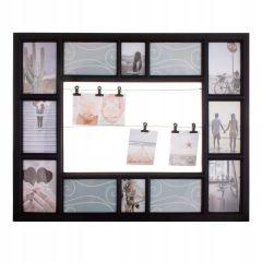 Fotorámeček na 12 fotek + 6 svorek, 63x51 cm, černý SPRINGOS PANORAMA