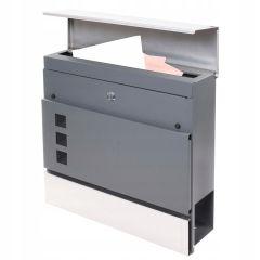 Poštovní schránka SPRINGOS LUCERN 37x37x11 cm antracit/nerez