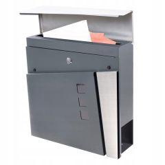 Poštovní schránka SPRINGOS BREST 37x37x11 cm antracit/nerez