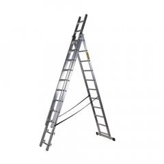 Hliníkový žebřík 3x9 příček třídílný DRABEST DW3-9 PRO