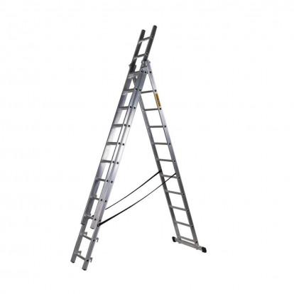 Hliníkový žebřík 3x11 příček PROFI třídílný DW3-11LP DRABEST