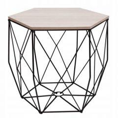 Konferenční stolek 39x40 cm SPRINGOS HEXAGON černý/šedý dub