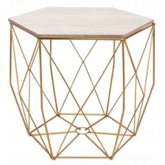 Konferenční stolek 40x45 cm SPRINGOS HEXAGON zlatý/šedý dub