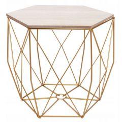 Konferenční stolek 39x40 cm SPRINGOS HEXAGON zlatý/šedý dub