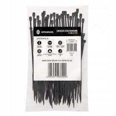 Plastové stahovací pásky 200x4,8 mm, 100ks, černé SPRINGOS