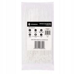 Plastové stahovací pásky 250x4,8 mm, 100ks, bílé SPRINGOS