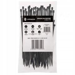 Plastové stahovací pásky 250x4,8 mm, 100ks, černé SPRINGOS