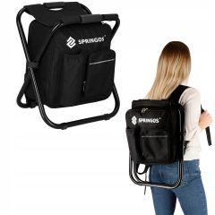 Cestovní židle s batohem SPRINGOS GO černá