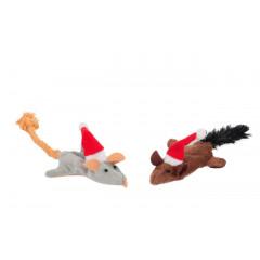 Flamingo Vánoční myš plyšová s catnipem pro kočky 2ks