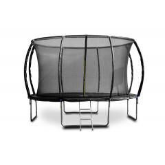 Trampolína G21 SpaceJump, 366 cm, černá, s ochrannou sítí + schůdky zdarma