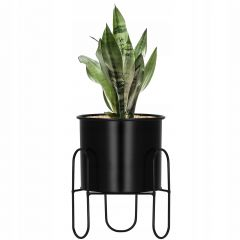 Květináč se stojanem 18 cm černý SPRINGOS ARTON