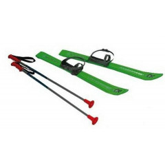 Lyže kluzky s holemi a vázáním Plastkon 90 cm - zelená