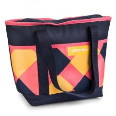 Spokey ACAPULCO Termo taška malá, růžovo-modro-žlutá, 39 x 15 x 27 cm