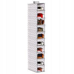 Závěsný organizér 10 polic, 15x30x120 cm SPRINGOS HA3036 šedo-bílý vzor