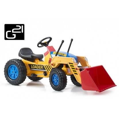 Šlapací traktor G21 Classic s nakladačem žluto/modrý