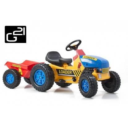 Šlapací traktor G21 Classic s vlečkou žluto/modrý