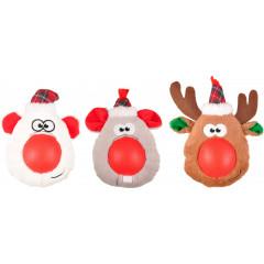Flamingo Vánoční hračka plyšová hlava gumový nos pro psy 21cm