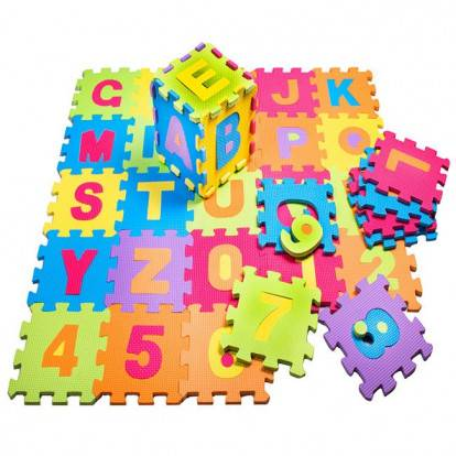 Pěnová podložka na hraní PUZZLE Čísla + Abeceda sada 36 ks