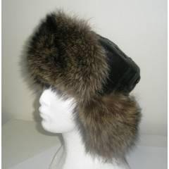 Kožešinová čepice ušanka mývala kombinovaná kůží MAKSIMA 59cm v obvodu