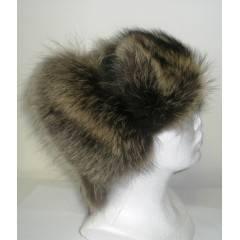 Kožešinová čepice ušanka mýval kombinovaná kůží MAKSIMA hnědá