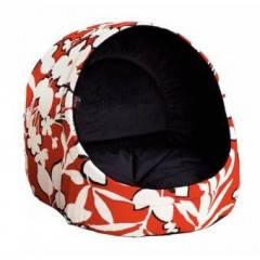 Pelíšek pro psa / kočku Logia, červený s květy DIVERSA, 38x38x37