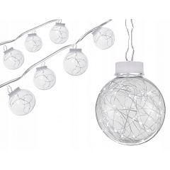 LED řetěz - Koule Edison 10ks, 4,5m, 100LED, studená bílá, IP44