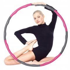 Hula Hop obruč 83 cm SPRINGOS MASSAGE růžovo-šedá