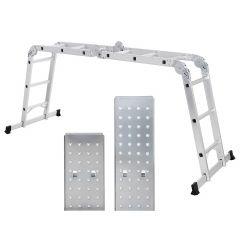 Hliníkový kloubový žebřík 4x3 příčky + ocelová plošina DRABEST DU4-3P PROFI
