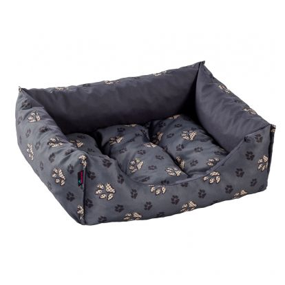 Pelíšek pro psa / kočku Siesta, šedý s tlapky DIVERSA